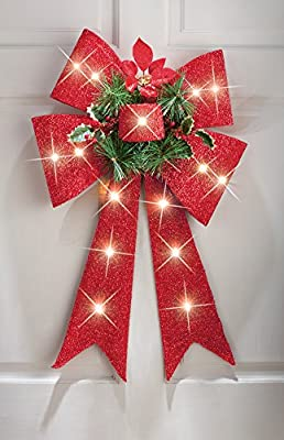 Lighted Christmas Bow Door Decoration
