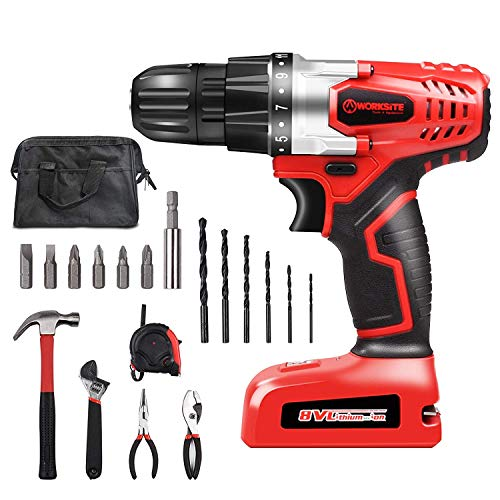 WORKSITE 8V Cordless Drill Driver Household Tool Drill Project Kit with 18 Hand Tools & Accessories and Tool Bag
