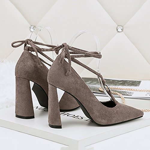 ALUK- Damenschuhe - Europa und die Vereinigten Staaten Stöckelschuhe wild hohl mit einem einzigen Schuh mit Schuhen mit hohen Absätzen ( Farbe : Khaki , größe : 35-Shoes long225mm ) Grau