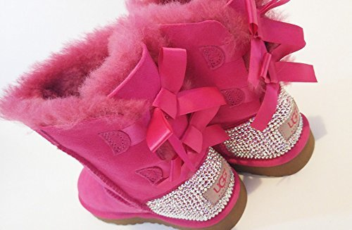 Pink Bailey bow UGG Boots, Swarovski Bailey bow UGGS, UGGs for girls, Bling
