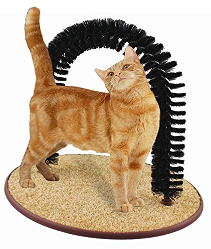 Alkem Cat Self Groomer Brush Scratcher Groomer Arch for Cat, Cat Self Grooming Comb Massaging Pad with Catnip