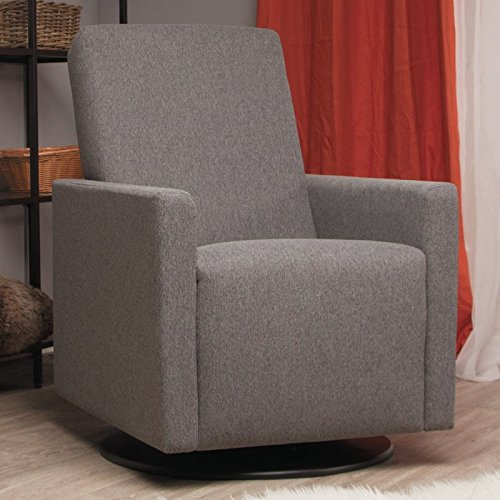 Swivel Glider Made of Wood and Polyester in Gray Color Hand-Crafted in Canada Be Cozy and Comfy Now by eCom Fortune