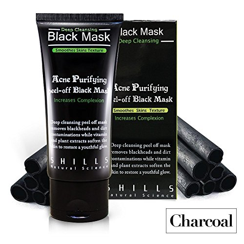 SHILLS Blackhead, Wrinkles, Anti Acne Black Mask. Removes blemishes- Purifyies, Cleanses Skin. Activated Charcoal (50 (Skin Purifying Facial Mask)