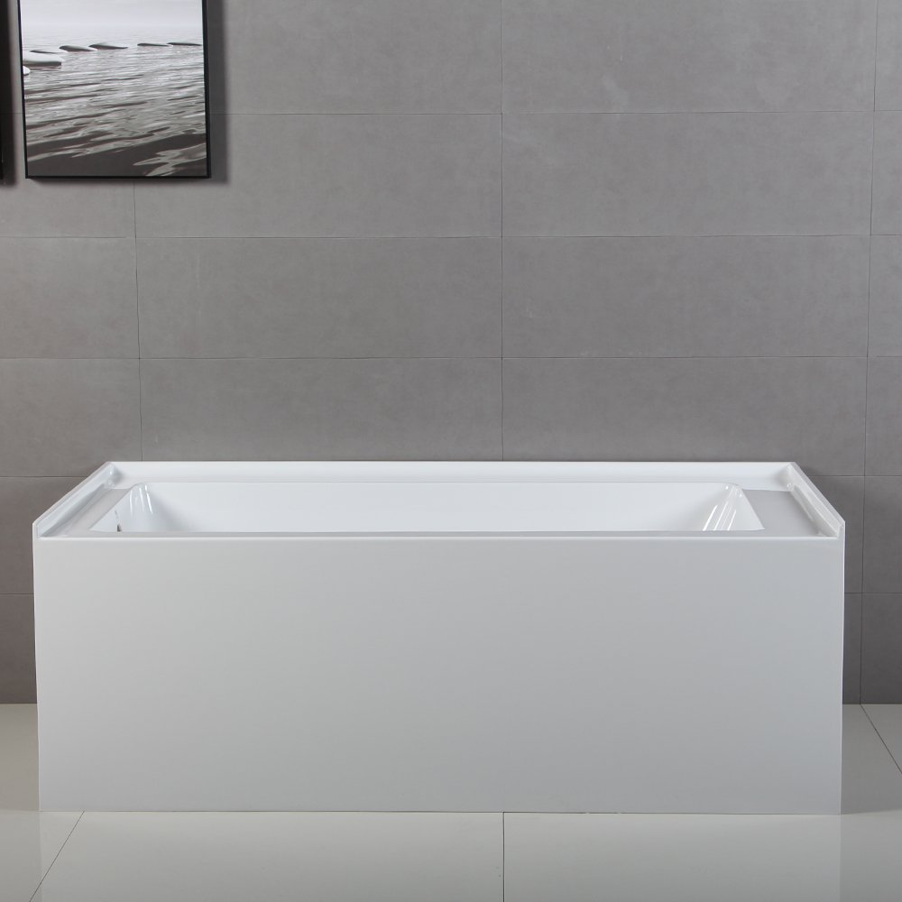 KINGSTON BRASS VTDE603122L 60 Inch Contemporary Alcove Acrylic Bathtub With  Left Hand Drain And Overflow Holes, White     Amazon.com