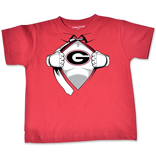 NCAA Georgia Bulldogs Toddler Short Sleeve Super Hero Tee, 4 Toddler, Red