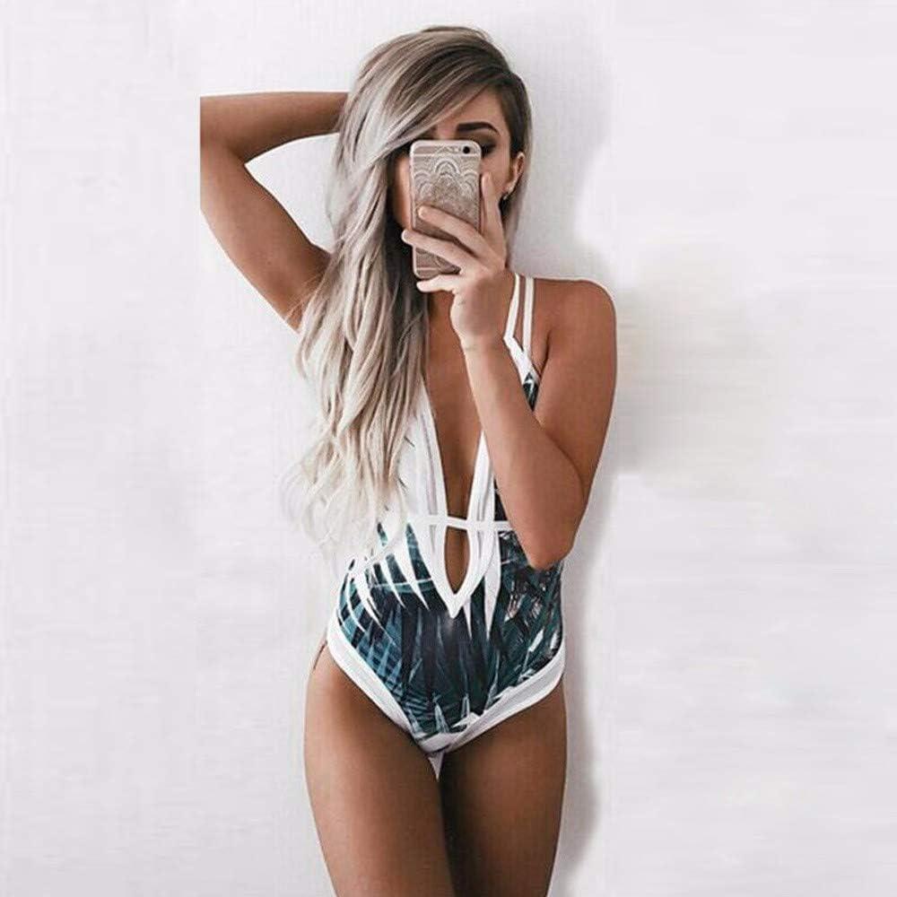 Amober Womens One Piece Beach Swimsuit Swimwear Bathing Monokini Push Up Padded Bikini