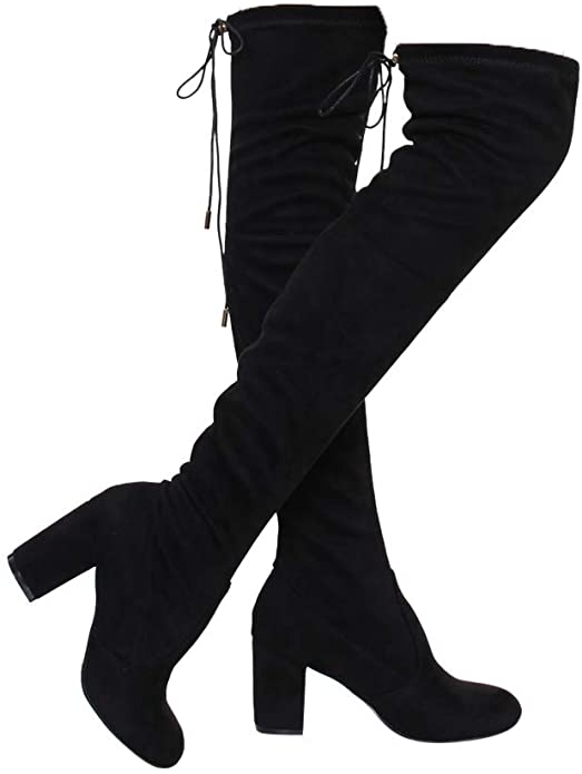 Details about  /Womens Thigh High Party Boots Over The Knee Ladies Stretchy Block Mid Heel Size