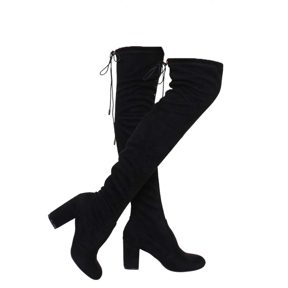 Black ShoBeautiful Women's Thigh High Boots Stretchy Over The Knee Chunky Block Heel Boots