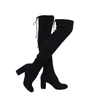 ce84dc8e862 ShoBeautiful Women s Over The Knee Boots Stretchy Thigh High Chunky Block  Heel Boots (8