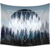 Xinhuaya Sunset Forest Ocean and Mountains Wall Hanging Tapestry with Romantic Pictures Art Nature Home Decorations for Living Room Bedroom Dorm Decor in 51x60 Inches …