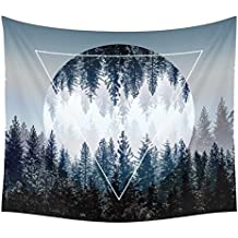 Xinhuaya Sunset Forest Ocean and Mountains Wall Hanging Tapestry with Romantic Pictures Art Nature Home Decorations for Living Room Bedroom Dorm Decor in 51x60 Inches