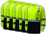5 PACK Class 3 Long Sleeve Black Bottom T-Shirt (Tall: XXL) GSS Safety
