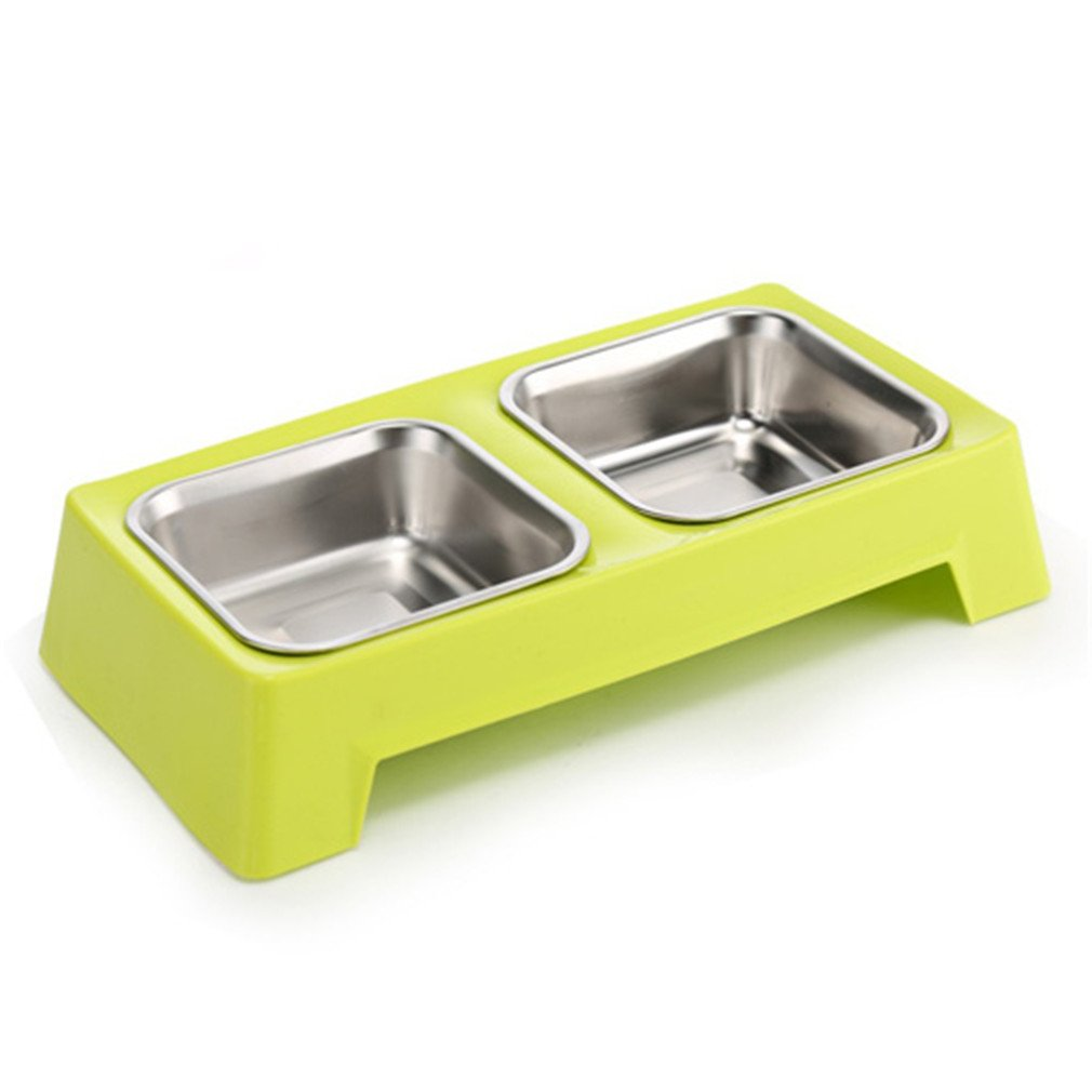 LVSEHUIYI Stainless Double Dog Bowls Moveable Pattern Non-Slip Bottom Three Color Pet Cat Feeder Green