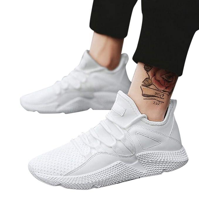 JiaMeng Zapatillas para Correr Zapatos Ligeros y Transpirables de Malla Respirable Zapatillas Aptitud Ligero Deportes Zapatos