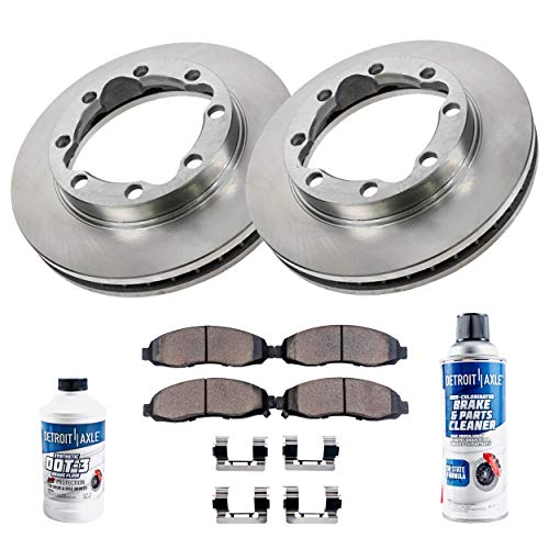 Detroit Axle - Complete FRONT Brake Rotors & Ceramic Brake Pads w/Clips Hardware Kit & BRAKE CLEANER & FLUID for 4WD Only - 94-96 Ram 2500 w/4500 - [98-99 Ram 2500 4x4] - 94-99 Ram 3500 Solid Axle