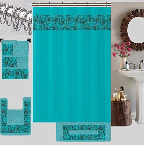 18 Piece High Quality Floral Embroidery Banded Bath Set 1 Large Bat Mat 1 Contour Mat 12 Pc Metal Roller Ball Shower Hooks 3 Pc Embroidered Towel Set (Turquoise)