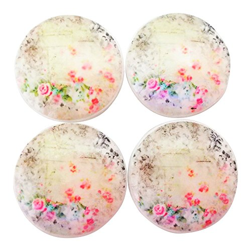 Shabby Rag - Set of 4 Shabby Floral Wood Cabinet Knobs
