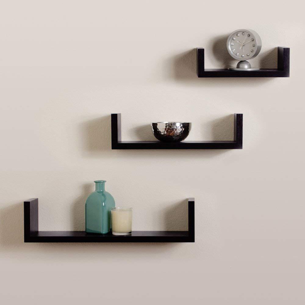 Shah Handicrafts Wooden U-Shape MDF Floating Wall Shelves ...