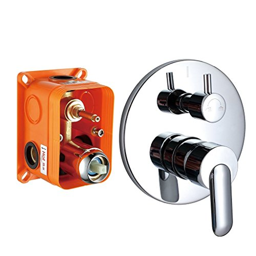 aled Tub and Shower Mixer Valve Ceramic Valve Dual Control Brass Chrome 2 Outlet ()