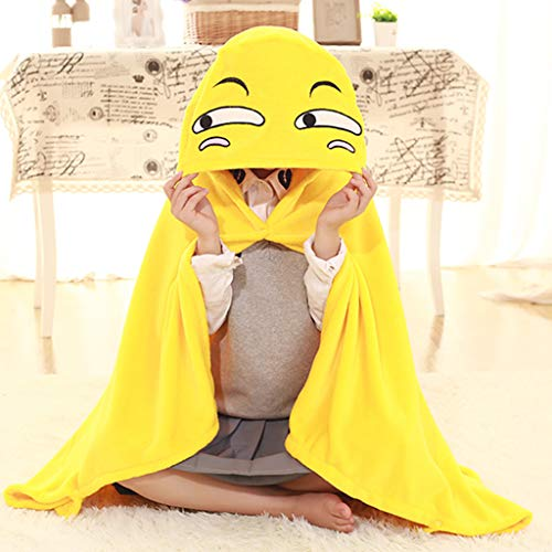 Fine Funny Cloak Hooded Blanket - Funny Face- Kids Huggable Pillow and Blanket Perfect for Pretend Play, Travel, nap time (Yellow) (Picnic Siesta Water Time)
