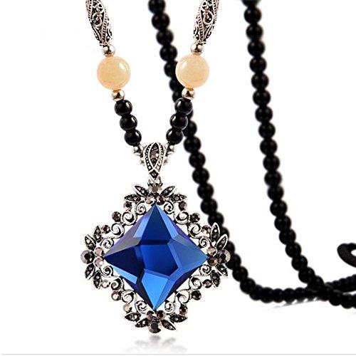 Hemp Bracelets Wholesale (HeyGirl National Style Long Sweater Beads Chain Retro Crystal Rhinestone Necklace Choker Pendant(Blue))