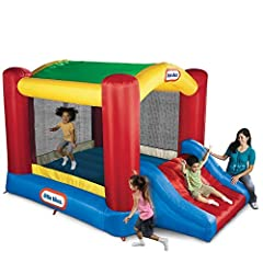 The Little Tikes Shady Jump 'n Slide bouncer is a backyard inflatable with an arching shade canopy for bouncy fun in the sun! This inflatable bouncer features a slide and large bounce area covered by a protective canopy. Kids can play togethe...