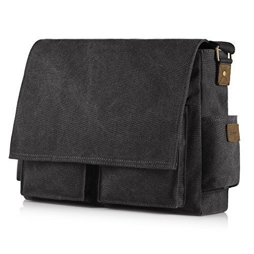 [Upgraded] SMRITI 16-Inch Canvas Messenger Bag Laptop Crossbody Shoulder Bag - Black