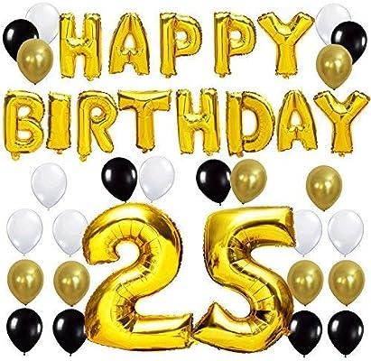 KUNGYO Letras Tipo Balón Doradas Happy Birthday+Número 25 Mylar Foil Globo+24 Piezas Negro Oro Blanco Globo de Látex 25 Años de Antigüedad Fiesta de ...