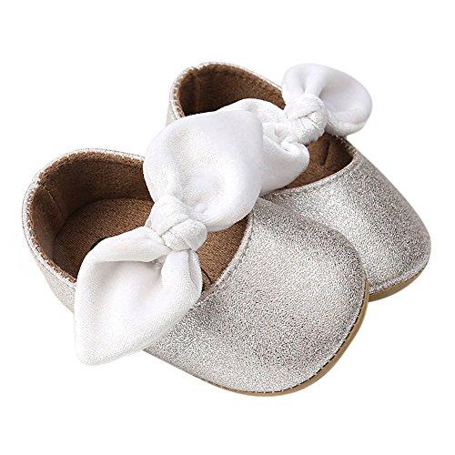 2339bd393fe44 Minuya Chaussures Bébé Fille, Cuir Souple Antidérapant Bowknot Chaussures  Princesse Chaussures Premiers Pas Bébé Fille