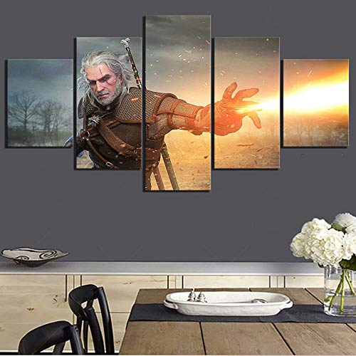 AIXYX 5 PieceThe Witcher 3 Wild Hunt Video Games Poster Paintings Canvas Art Paintings Wall Art for Home Decor-D (Canvas Hunt Art)