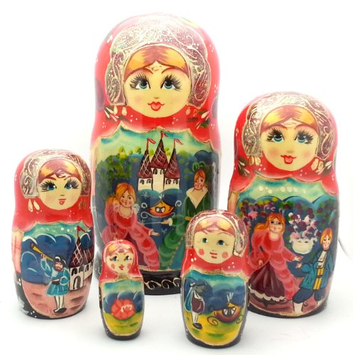 Cinderella fairy tale Russian Hand Carved Hand Painted Nesting 5 piece DOLL Set