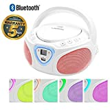 Lauson CP751 Cd-Player | Boombox | Portable Radio CD Player with Bluetooth | Usb & MP3 Player | Headphone Jack (3.5mm) (White LED)