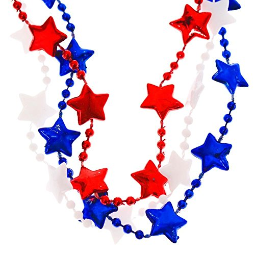 Patriotic Star Bead Red White Blue Necklaces - 36 Pack - July 4, Independence Day, Parades