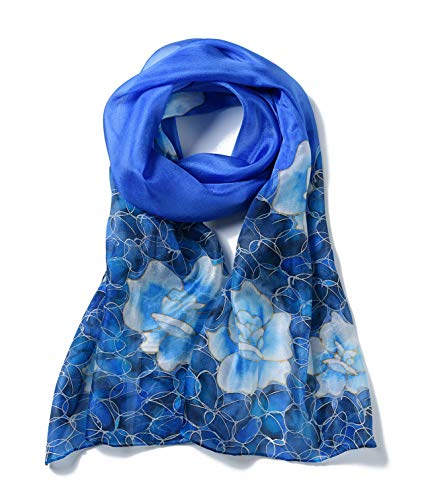 Invisible World Women's 100% Mulberry Silk Scarf Hand Painted Floral-Sky - Handkerchief Rose Blue