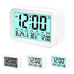 Coresto Talking Alarm Clock Time/Calendar/Temperature Display with 3 Alarms, Optional Weekday Alarm,Snooze Function,Smart Sensor Light Desk Clock for Kids and Family(White)