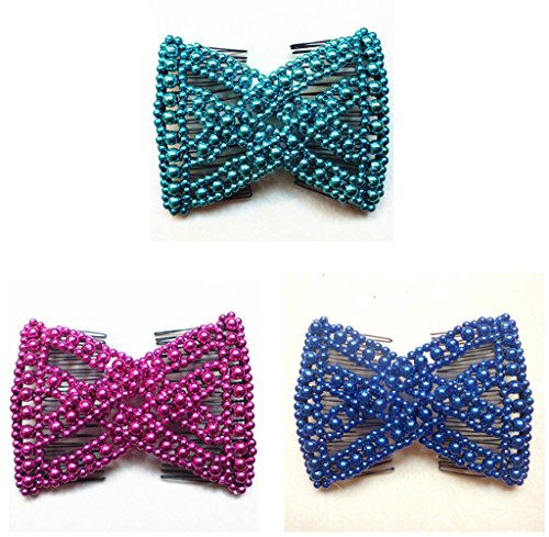 Lovef 3 Pcs Ponytail Comfy Comb, Hair Comb is perfect for Easy Ponytails, UpDos and Twists, Hair Accessory with Beaded Double Combs, Blue Light Blue Purple Rose Pink, Medium Easy Stretchable Hair Combs