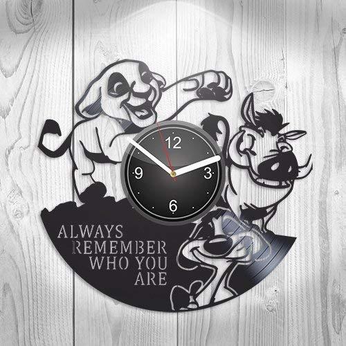 (The Lion King Walt Disney Pictures Simba Nala Mufasa Gift For Boyfriend Girlfriend Wall Art, New Handmade Vinyl Wall Clock Decor, Office Decoration For Living Room Inspirational, Best Present For Him)
