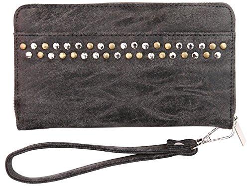 Felda Faux Leather Ladies Purse Wallet with Wrist Strap Suede Finish Black