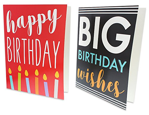 12 Pack Jumbo Big Happy Birthday Greeting Cards Assortment - Bulk Box Set - 6 Assorted Unique Multicolor Designs - Envelopes Included, 8.5 x 11 Inches Photo #4