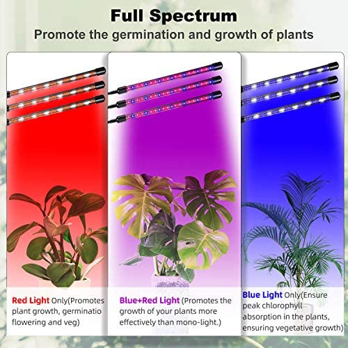 Azawa Grow Lights 30W, 60 LEDs Plant Light for Indoor Plants, Full Spectrum IP55 Waterproof Growing Lamp with Automatic ON Off, 3 6 12H Cycle Timer, 3 Light Mode, 6 Dimmable Levels