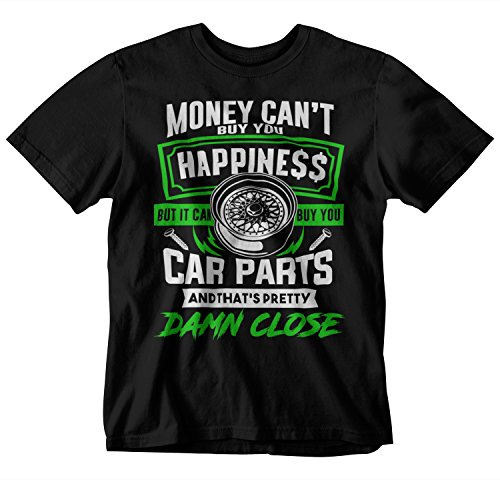 STYLN Money BUYS CAR Parts Happiness T-Shirt (Large) Black