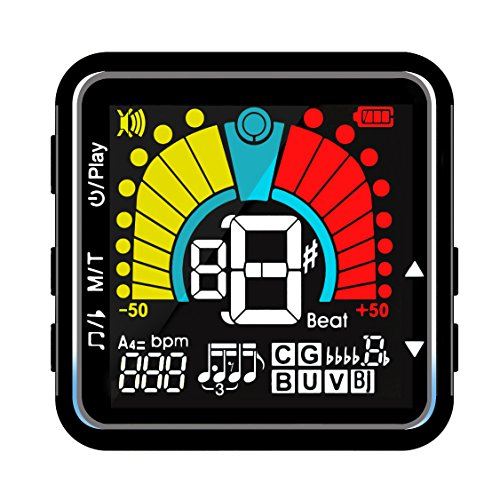 Bass Metronome - Clip On Tuner Metronome for Stringed Instrument with Guitar, Bass, Ukulele, Violin, Banjo, Chromatic Tuning Modes Rechargeable Tuner by Cookan