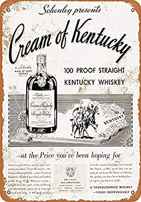 Tengss 8 x 12 Metal Sign - 1934 Cream Kentucky Straight Whiskey - Vintage Look Reproduction
