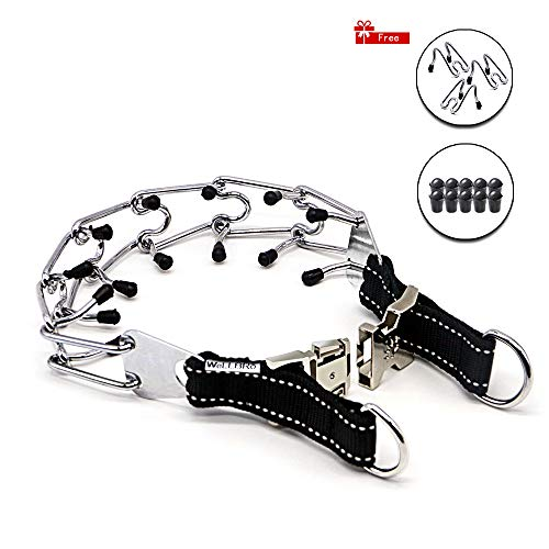 Wellbro Pit Bull German Shepherd Training Metal Gear, Plated Prong Pet Collar with Quick Release Buckle, Adjustable Training Dog Collar Including 3 Extra Prongs and 10 Rubber Caps, Easy-On/Off, 18