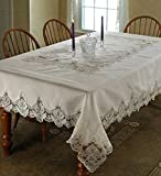 Violet Linen Imperial Embroidered Vintage Lace Design Oblong/Rectangle Tablecloth, 70'' x 120'', Cream
