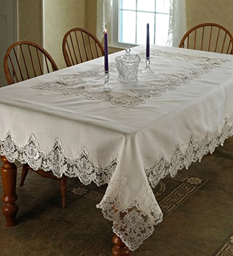 Oblong Lace Tablecloth (Violet Linen Imperial Embroidered Vintage Lace Design Oblong/Rectangle Tablecloth, 70