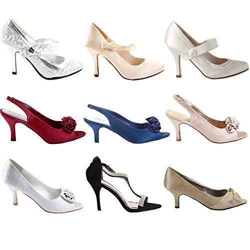 5 Kitten Damen Sandalen Prom Größe Party Low Hochzeit Stil Peeptoe Brautjungfer Mid Womens Schuhe Satin Gericht Braut Heels BnqTfBp1