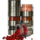 Spice Grinder Stainless Steel - 6 Jar Salt and Pepper Shaker Set - Adjustable Ceramic Grinder for Salt Pepper, Peppercorn, Cloves and More - Clear Acrylic Body- Easy Fill Design (Spices Not Included)