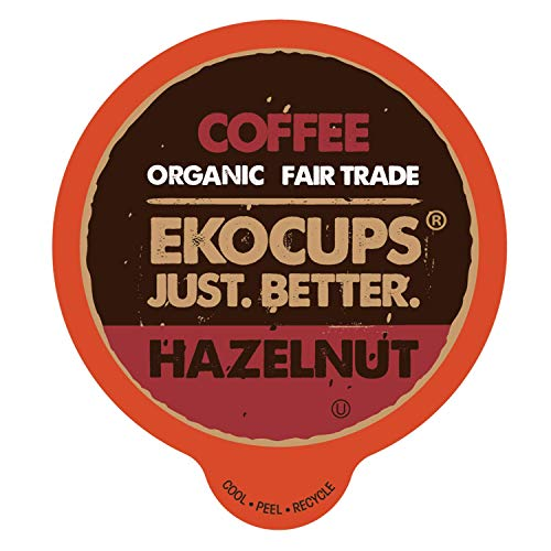 EKOCUPS Artisan Organic Hazelnut Flavored Hot or Iced Coffee, Medium Roast, in Recyclable Single Serve Cups for Keurig K-cup Brewers, 20 count