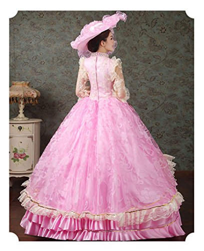 Zukzi Women's Ruffles Gothic Victorian Fancy Lolita Dress Costumes, Pink Size 8 by Zukzi (Image #5)